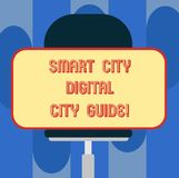 Handwriting text Smart City Digital City Guide. Concept meaning Connected technological modern cities Blank Rectangular. Shape Sticker Sitting Horizontally on a stock illustration