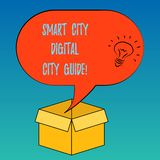 Handwriting text Smart City Digital City Guide. Concept meaning Connected technological modern cities Idea icon Inside. Blank Halftone Speech Bubble Over an vector illustration