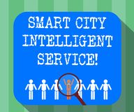 Handwriting text Smart City Intelligent Service. Concept meaning Connected technological modern cities Magnifying Glass. Over Chosen Man Figure Among the Hu stock illustration