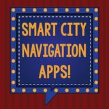 Handwriting text Smart City Navigation Apps. Concept meaning Connected technological advanced modern cities Square. Speech Bubbles Inside Another with Broken royalty free illustration
