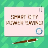 Handwriting text Smart City Power Saving. Concept meaning Connected technological cities electricity savings Blank. Square Color Board with Magnet Click royalty free illustration