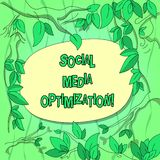 Handwriting text Social Media Optimization. Concept meaning Digital strategy Generate viral publicity Tree Branches. Scattered with Leaves Surrounding Blank vector illustration