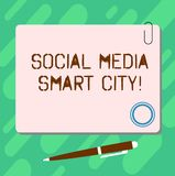 Handwriting text Social Media Smart City. Concept meaning Connected technological advanced modern cities Blank Square. Color Board with Magnet Click Ballpoint royalty free illustration