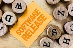 Handwriting text Software Release. Concept meaning sum of stages of development and maturity for program.  royalty free stock photos