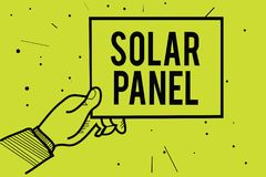 Handwriting text Solar Panel. Concept meaning designed to absorb suns rays source of energy generating Man hand holding paper comm. Unicating information dotted stock image