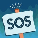 Handwriting text Sos. Concept meaning Urgent appeal for help International code signal of extreme distress.  stock illustration