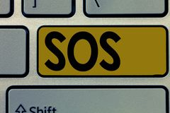 Handwriting text Sos. Concept meaning Urgent appeal for help International code signal of extreme distress.  stock photo
