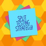 Handwriting text Split Testing Strategy. Concept meaning conducting experiments to improve website metric Multiple Layer of Blank stock illustration