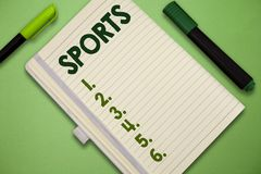 Handwriting text Sports. Concept meaning activity physical exertion and skill individual or team competes stock images