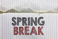 Handwriting text Spring Break. Concept meaning Vacation period at school and universities during spring Open notebook page crumple. D papers ripped pages several stock photos