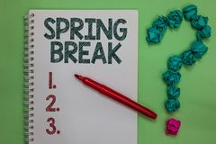 Handwriting text Spring Break. Concept meaning Vacation period at school and universities during spring Notebook marker crumpled p royalty free stock photos