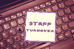 Handwriting text Staff Turnover. Concept meaning The percentage of workers that replaced by new employees.  stock photo