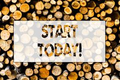 Handwriting text Start Today. Concept meaning Initiate Begin right now Inspirational Motivational phrase Wooden. Handwriting text Start Today. Conceptual photo royalty free stock photography
