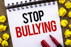Handwriting text Stop Bullying. Concept meaning Do not continue Abuse Harassment Aggression Assault Scaring written on Notebook Bo. Handwriting text Stop Stock Photography
