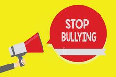Handwriting text Stop Bullying. Concept meaning Fight and Eliminate this Aggressive Unacceptable Behavior Man holding megaphone lo. Udspeaker red speech bubble vector illustration