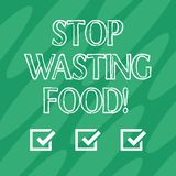 Handwriting text Stop Wasting Food. Concept meaning organization works for reduction food waste in society Geometric royalty free illustration