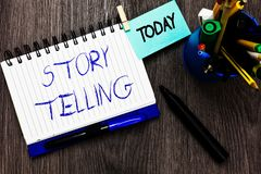 Handwriting text Story Telling. Concept meaning social and cultural Activity with Theatrical Gestures Open notebook stock images