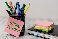Handwriting text Storytelling. Concept meaning activity writing stories for publishing them to public Writing equipment. Handwriting text Storytelling stock photography
