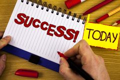 Handwriting text Success Motivational Call. Concept meaning Achievement Accomplishment of some purpose written by Marker in Hand o. Handwriting text Success Stock Photos
