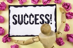 Handwriting text Success Motivational Call. Concept meaning Achievement Accomplishment of some purpose written on Sticky Note Pape. Handwriting text Success Royalty Free Stock Photos