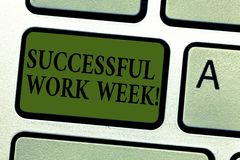 Handwriting text Successful Work Week. Concept meaning productive and satisfying working days in a week Keyboard key. Intention to create computer message stock image