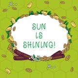 Handwriting text Sun Is Shining. Concept meaning Beautiful sunshine Enjoying hot summer days Natural landscape Wreath vector illustration