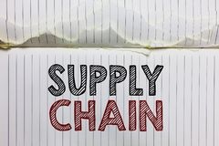 Handwriting text Supply Chain. Concept meaning System of organization and processes from supplier to consumer Open notebook page c. Rumpled papers ripped pages Stock Photos