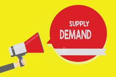 Handwriting text Supply Demand. Concept meaning Relationship between the amounts available and wanted Man holding megaphone loudsp. Eaker red speech bubble stock illustration