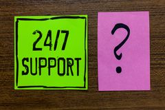 Handwriting text 24 7 Support. Concept meaning Giving assistance to service whole day and night No downtime Green paper note Impor. Tant reminder pink question royalty free stock photos