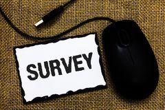 Handwriting text Survey. Concept meaning Questioning group of people to gather opinion on a particular subject USB black mouse art. Board paper ideas thoughts royalty free stock photos