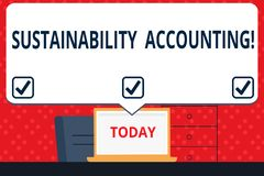 Handwriting text Sustainability Accounting. Concept meaning tool used organisations become more sustainable Blank Huge royalty free illustration