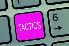 Handwriting text Tactics. Concept meaning Action Team Strategy carefully planned to achieve specific end royalty free stock photography