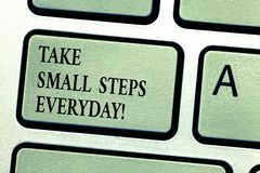 Handwriting text Take Small Steps Everyday. Concept meaning Step by step you can reach all your goals Keyboard key. Intention to create computer message stock image