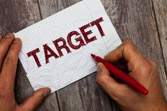 Handwriting text Target. Concept meaning person object or place selected as the aim of attack Life goal.  stock images
