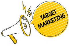 Handwriting text Target Marketing. Concept meaning Audience goal Chosen clients customers Advertising Convey message text lines id. Eas loud speaker alarm stock illustration