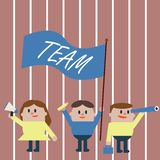 Handwriting text Team. Concept meaning Group of people working together Classed and share certain beliefs.  stock illustration