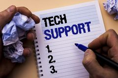 Handwriting text Tech Support. Concept meaning Help given by technician Online or Call Center Customer Service written by Man on N. Handwriting text Tech Support Royalty Free Stock Photos