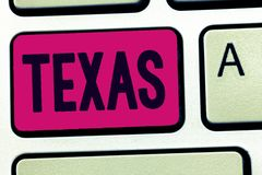 Handwriting text Texas. Concept meaning based on Caddo word taysha meaning friends and its located in us stock photos