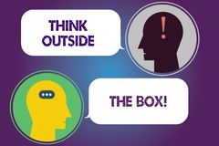 Handwriting text Think Outside The Box. Concept meaning Be unique different ideas bring brainstorming Messenger Room. With Chat Heads Speech Bubbles vector illustration