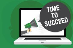 Handwriting text Time To Succeed. Concept meaning Thriumph opportunity Success Achievement Achieve your goals Man holding Megaphon. E loudspeaker computer screen stock illustration