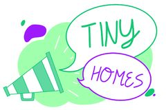 Handwriting text Tiny Homes. Concept meaning houses contain one room only or two and small entrance Cheap Megaphone loudspeaker sp royalty free illustration