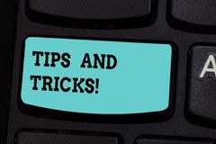 Handwriting text Tips And Tricks. Concept meaning Steps Life hacks Handy advice Recommendations Skills Keyboard key. Intention to create computer message royalty free stock photography
