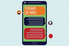Handwriting text To Reshape The World. Concept meaning Give the earth new perspectives opportunities Mobile Messenger. Screen with Chat Heads and Blank Color stock illustration