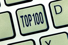 Handwriting text Top 100. Concept meaning List of best products services Popular Bestseller Premium high rate.  royalty free stock photo