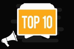 Handwriting text Top 10. Concept meaning List of most demanding Trending songs movies shows online in order.  vector illustration