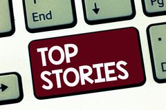 Handwriting text Top Stories. Concept meaning Most read important news information messages Headlines.  stock photos