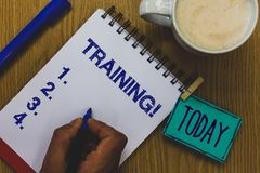 Handwriting text Training Motivational Call. Concept meaning Organized activity to develop skill set of people Mug coffee paper ma. Rker pens nice art clip stock image