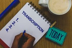 Handwriting text Transcription. Concept meaning Written or printed process of transcribing words text voice Mug coffee paper marke stock photography