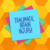 Handwriting text Traumatic Brain Injury. Concept meaning Insult to the brain from an external mechanical force Multiple Layer of. Blank Sheets Color Paper stock illustration
