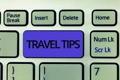 Handwriting text Travel Tips. Concept meaning Recommendations for a happy journey safe comfortable vacation.  stock image